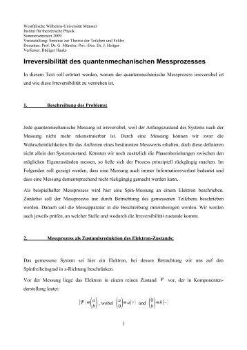 Irreversibilität der quantenmechanischen Messung - Institut für ...