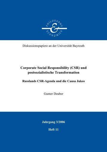 Corporate Social Responsibility (CSR) - Philosophy & Economics ...