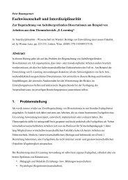 Fachwissenschaft und Interdisziplinarität - Peter Baumgartner