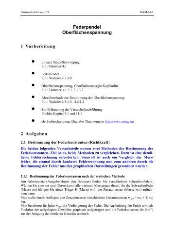 Federpendel Oberflächenspannung 1 Vorbereitung 2 Aufgaben