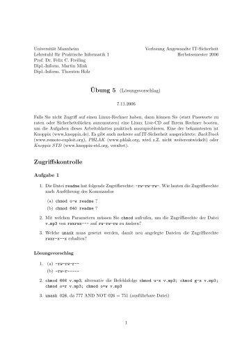 Zugriffskontrolle - Lehrstuhl Praktische Informatik I - Universität ...