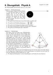 Physik A: Übungsblatt Nr