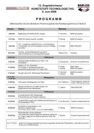 Ablauf des Tagungsprogramms - Plasticker
