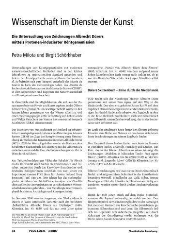 Wissenschaft im Dienste der Kunst - Universität Wien