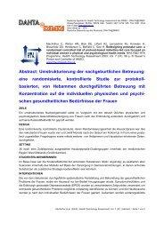 Abstract: Umstrukturierung der nachgeburtlichen Betreuung ... - DIMDI