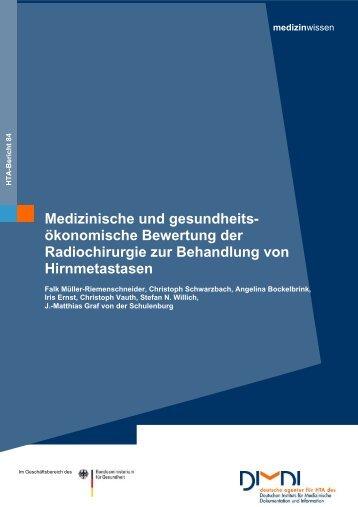 Medizinische und gesundheits- ökonomische Bewertung ... - DIMDI