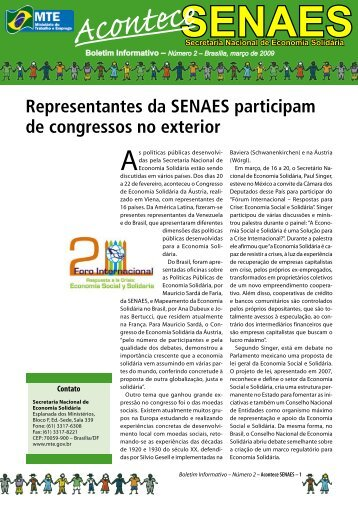 Acontece SENAES - Ministério do Trabalho e Emprego
