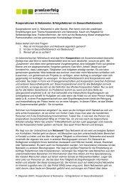 Fachartikel- Kooperationen u. Netzwerke - praxiserfolg