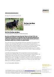 PROGRAMMHINWEIS Die Spur des Bären Die Spur des Bären