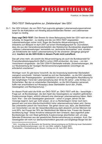 """ÖKO-TEST Stellungnahme zur """"Detailanalyse ... - Presse - Öko-Test"""