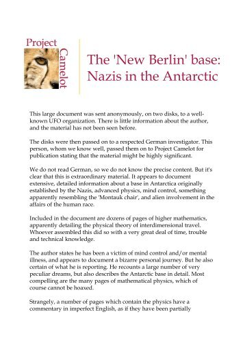 The 'New Berlin' base: Nazis in the Antarctic - Project Camelot