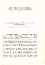 Vertebrata Hungarica 2/1-2. (Budapest, 1960)
