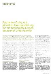 Sarbanes-Oxley Act: aktuelle Herausforderung für die ... - PwCPlus