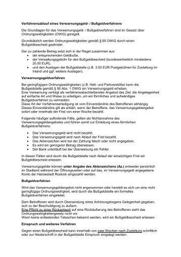 Verfahrensablauf Verwarnungsgeld - Hansestadt Rostock