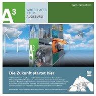Standflyer/Mitausstellerportrait - im Wirtschaftsraum Augsburg A³