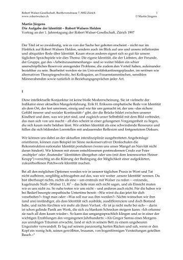 Martin Jürgens Die Aufgabe der Identität - Robert Walser-Zentrum