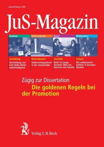 Die goldenen Regeln bei der Promotion - Verlag C. H. Beck oHG