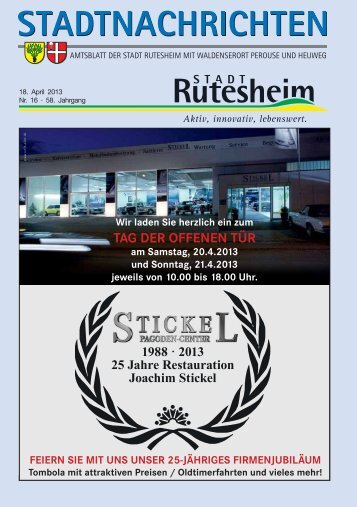 Ausgabe Nr. 16 vom 18. April 2013, Teil I - Rutesheim