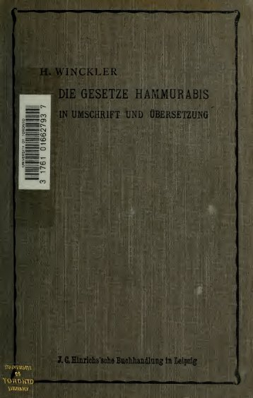 Die Gesetze Hammurabis in Umschrift und Übersetzung;