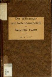Die Währhungs- und Notenbankpolitik der Republik Polen