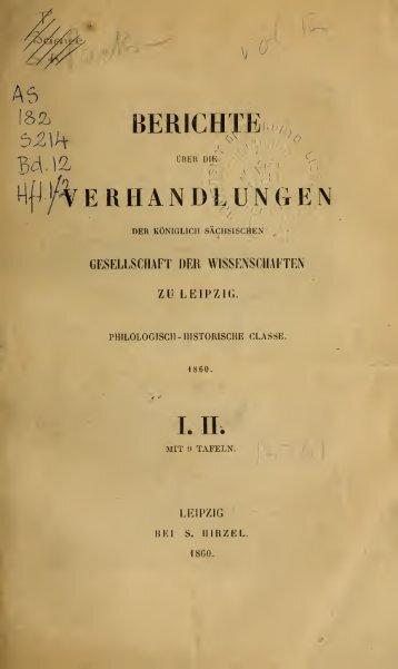 Berichte über die Verhandlungen der Sächsischen Akademie der ...