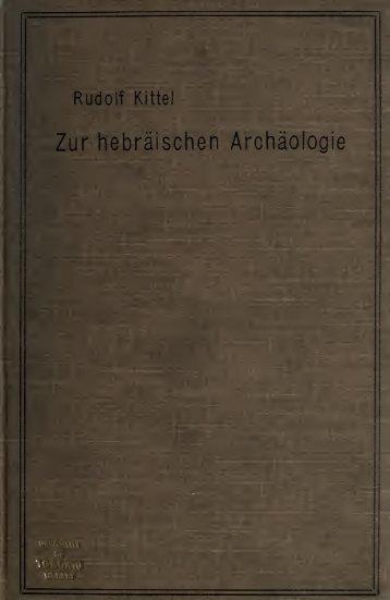 Studien zur hebräischen Archäologie und Religionsgeschichte
