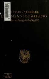 Lebensanschauung : vier metaphysische Kapitel - University of ...