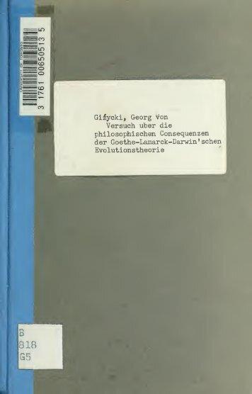 Versuch über die philosophischen Consequenzen der Goethe ...