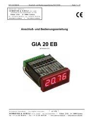 Anschluß0 und Bedienungsanleitung GIA 20 EB - Schriever-schulz.de