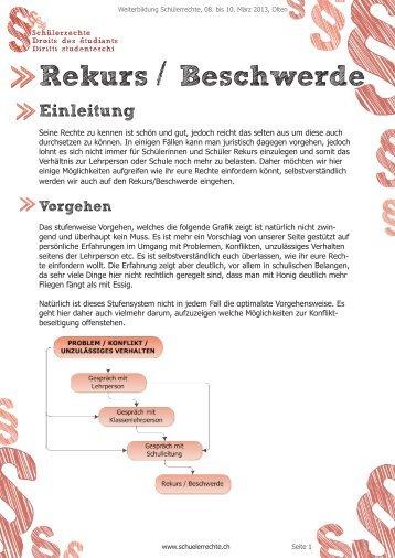 Rekurs / Beschwerde - Schülerrechte - USO