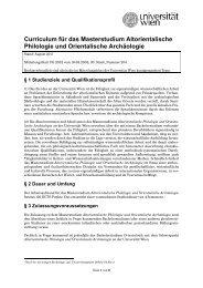 Altorientalische Philologie und Orientalische Archäologie - Senat ...