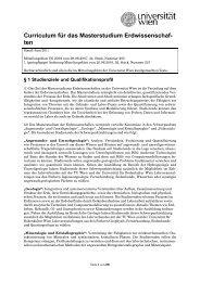 Curriculum für das Masterstudium Erdwissenschaf- ten - Senat ...