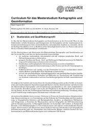 Curriculum für das Masterstudium Kartographie und Geoinformation