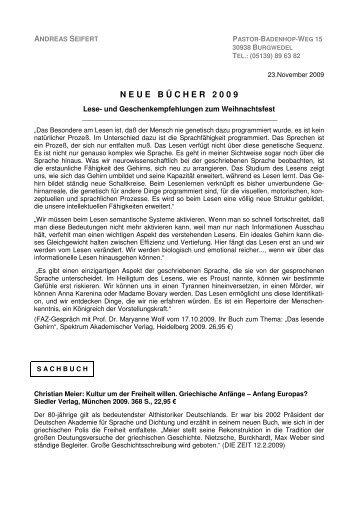 finden Sie die Literaturliste 2009. - Rotary Distrikt 1800