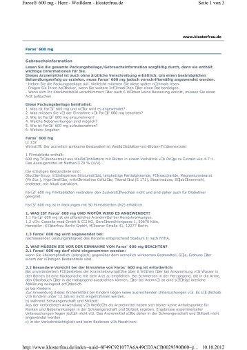 Seite 1 von 3 Faros® 600 mg - Herz - Weißdorn - klosterfrau.de ...