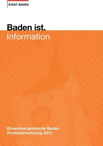 Produkterechnung 2012 - Baden - Online Shop - Stadt Baden