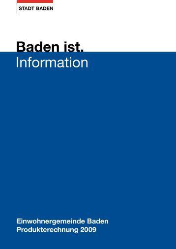 Produkterechnung 2009 - Online Shop - Stadt Baden
