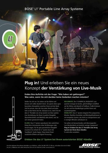 Und erleben Sie ein neues Konzept der Verstärkung von Live-Musik