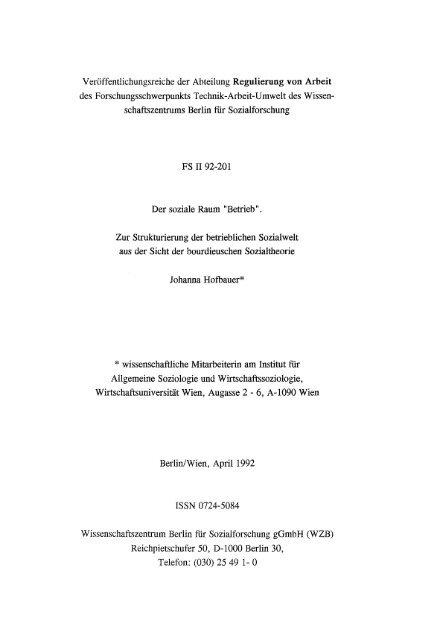 Veröffentlichungsreiche der Abteilung Regulierung von Arbeit ... - WZB