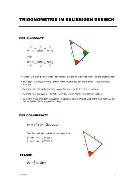 Trigonometrie Im Beliebigen Dreieck A 1