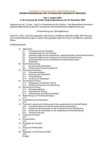 Promotionsordnung - Technische Universität München