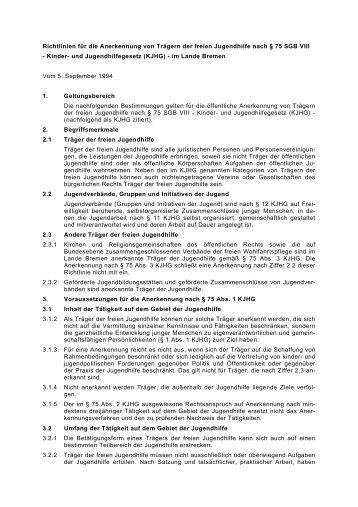 Richtlinien zur Anerkennung von Trägern der freien Jugendhilfe