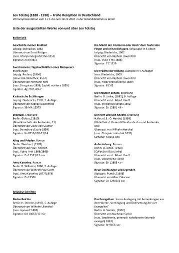 Liste der Exponate - Staatsbibliothek zu Berlin