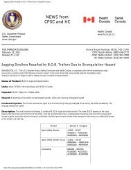 Jogging Strollers Recalled by B.O.B. Trailers Due to Strangulation ...