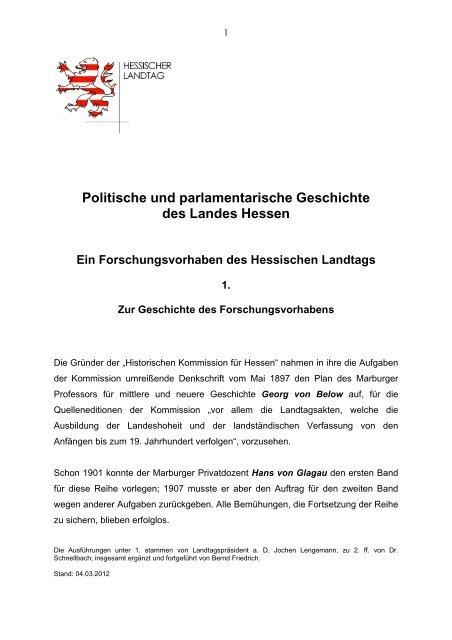 Politische und parlamentarische Geschichte des Landes Hessen