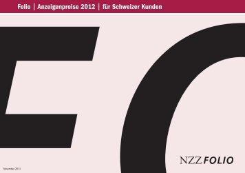 Folio | Anzeigenpreise 2012 | für Schweizer Kunden - Neue Zürcher ...