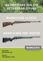 instructions for use betriebsanleitung mannlicher classic mannlicher ...