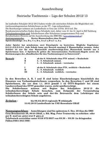 Ausschreibung Steirische Tischtennis – Liga der Schulen 2012/13