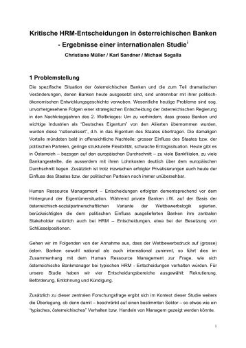 Kritische HRM-Entscheidungen in österreichischen Banken - Studies2