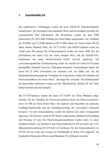 98 4. Experimenteller Teil Die synthetisierten Verbindungen wurden ...